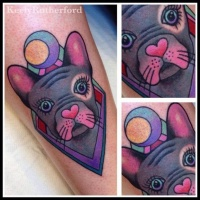 Cute coloured doggy tattoo by Keely Rutherford